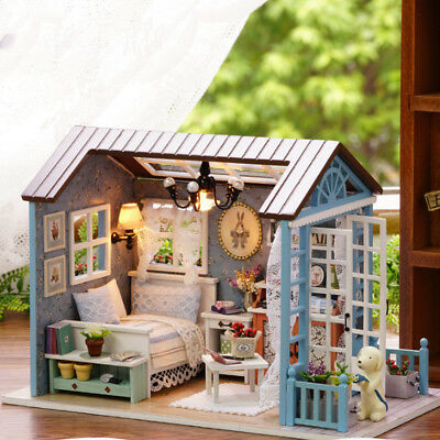 Wooden DIY Handwork Villa Doll House Furnitures Birthday Gift Assembling Toy