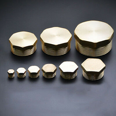 """BSP 1/8"""" ~ 2"""" Thread Brass Pipe Screw Male Blanking Plug Tube Stop End Cap Cover"""