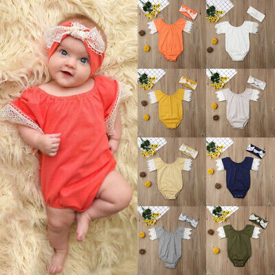 USA Stock Newborn Toddler Baby Girl Cotton Romper Tops Headband Jumpsuit Outfits
