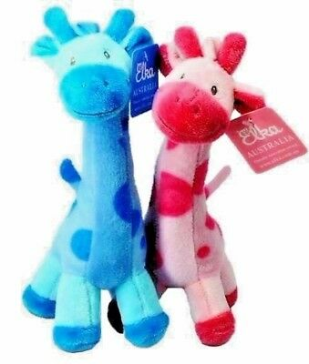 2pcs Giraffes Bundle of Pink and Blue by Elka - baby kids soft stuffed toy gift