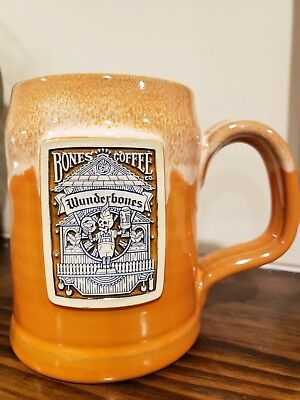 Bones Coffee Company Wunderbones orange Mug Deneen Pottery NEW SOLD OUT!