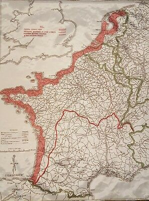"WW2 D-Day cloth ""silk"" Invasion Escape Map"