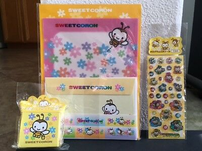 3 PC. Vintage Sanrio SWEET CORON Bumble Bee Letter Stationery Set + Stickers LOT