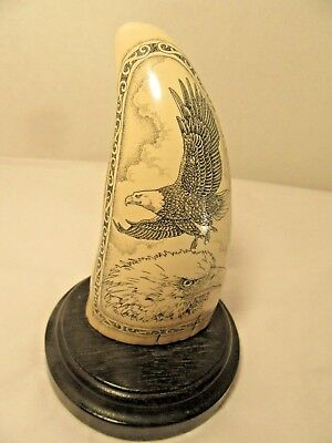Vintage Scrimshaw Faux Carved Sperm Whales Tooth W/Eagles On Stand