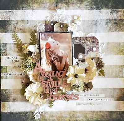 """Handmade Mixed Media 12"""" x 12"""" Scrapbook Page - smile"""