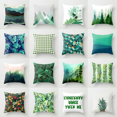 18'' Cotton linen green leaves pillow case cover sofa cushion cover Home Decor