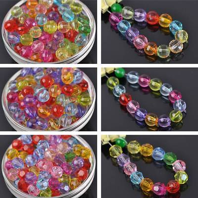 Wholesale 4~20mm Acrylic Plastic Transparent Faceted Bicone/Round Spacer Beads