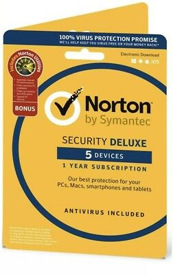Norton Security Deluxe 2018 / 2019, 5 Device + Utilities - Product Key Emailed