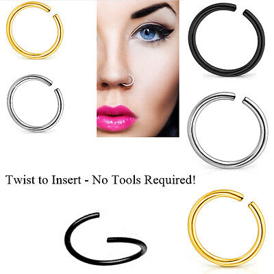 2pcs Gold Silver Plated Plain Nose Lip Ring Hoop Body Piercing Stud Ear