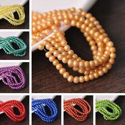 Wholesale 4mm Round Foil Coated Opaque Glass Loose Spacer Beads Jewelry Making