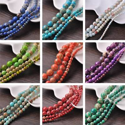 4/6/8/10mm Round Natural Imperial Jasper Gemstone Loose Beads Jewelry Findings