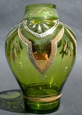 Antique Victorian/Art Nouveau Enamelled/Gilt Green Glass Cabinet Vase