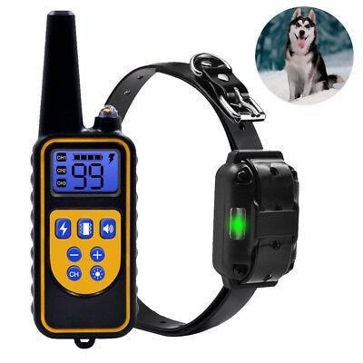 Dog Shock Training Collar Rechargeable Remote Control Waterproof IP67 880 Yards