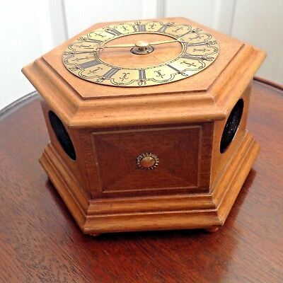 Vintage Wooden Style Hexagon Table Top Hour  Clock With German Working Movement