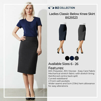 Ladies Relaxed Fit Below Knee Lined Pencil Skirt Stretch Business Office Health