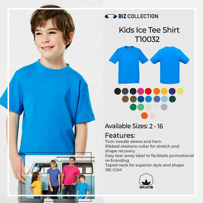 Kids Ice Tee Shirt 100% Cotton Boys Girls Plain T-Shirt Tops Sports Size 02-16