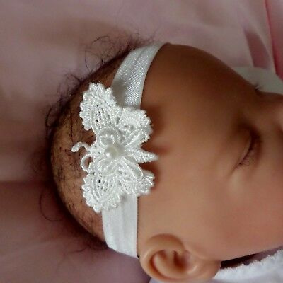 Baby Headband Ivory lace butterfly newborn /3 months 3/6 months 6/12 months +