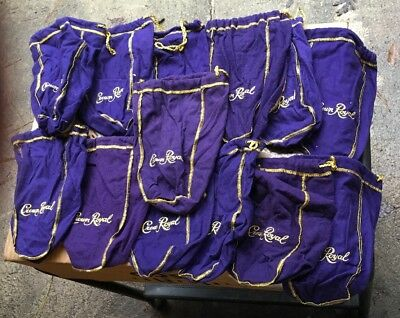Lot of Twelve 12 Crown Royal Drawstring Bags 750ml Purple with Embroidered Logo