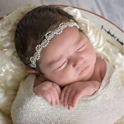 Newborn Baby Pearl Flower Headband Girl Hair Photography Props Accessories