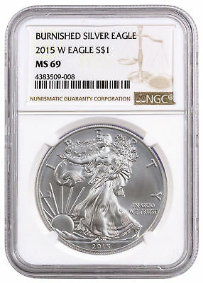 2015 W 1 oz Burnished American Silver Eagle $1 NGC MS69 SKU35114