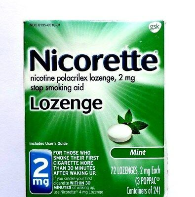 Nicorette Nicotine Lozenges 2mg. Mint 72pcs. exp. April 2018