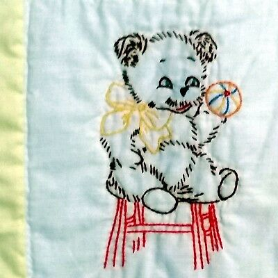 Baby Quilt Teddy Bears Handmade Vintage Embroidered Yellow Blanket 47x38