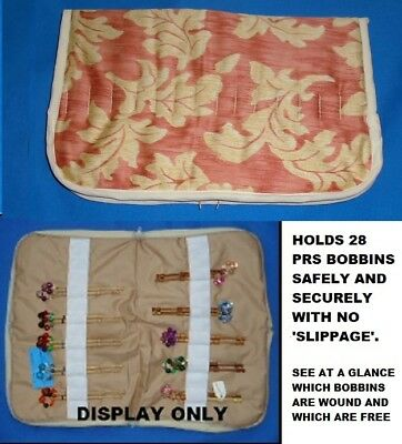 A.small Padded Zip Bobbin Bag Holds 28 Prs Bobbins Safely & Securely  'leaves'