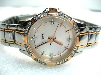 Bulova 98L209 40 Real Crystals Ladies Dress Watch Mother Of Pearl Dial / Analog