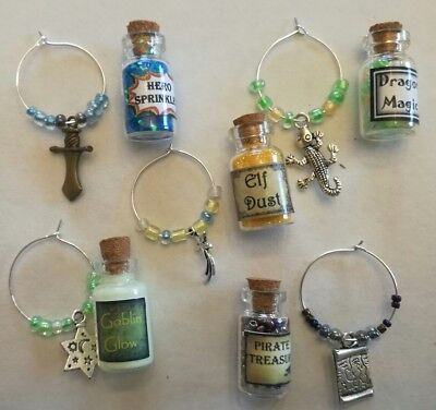 5 x boys party bag fillers, dragon bottles, charms, glow in the dark