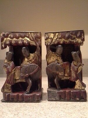 Vintage Asian Oriental Bookends Carved Wood and Etched Brass