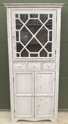 Distresssed Part-Glazed Slim Cupboard Cabinet Shabby Chic Painted Antique Style