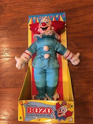 """1994 Mint In Box! Bozo The Clown Doll Figure Red White Blue 12"""" Larry Harmon"""