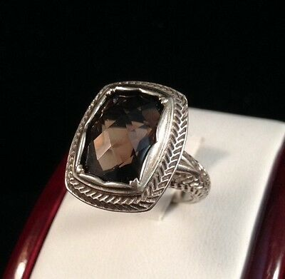 Vintage Large Sterling Silver 8C Smoky Quartz Filigree Estate Byzantine Ring 6.5
