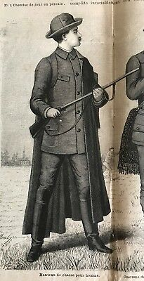 MODE ILLUSTREE SEWING PATTERN  Aug 5,1888- HUNTING COSTUMES FOR MEN