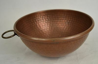 """Hammered Copper Mixing Bowl Rolled Edge 9"""" x 5"""" Fruit Décor Vintage"""