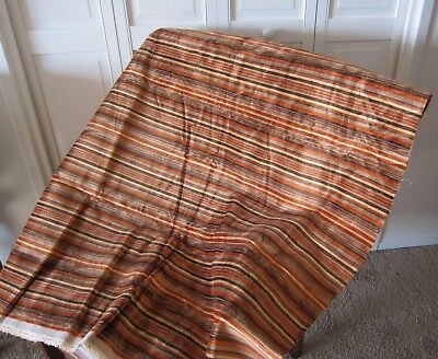 Vintage Striped VELVET UPHOLSTERY FABRIC in warm browns and gold, 1 yard, 56 W