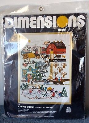"""Dimensions ~ """"Joys of Winter"""" ~ CREWEL EMBROIDERY KIT ~ #1120 ~ 18"""" x 24"""" ~ New"""