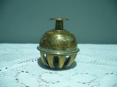 Small Vintage Claw Bell -  Brass - Engraved And Enameled - Temple Prayer Chime