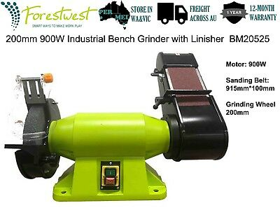 200mm Bench Grinder Belt Sander Industrial Level 900W 1.2HP Linisher Sharpener
