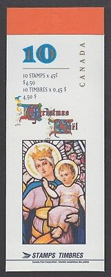 CANADA BOOKLET BK202b 10 x45c CHRISTMAS - MADONNA WITH CHILD,OPEN COVER WITH TI