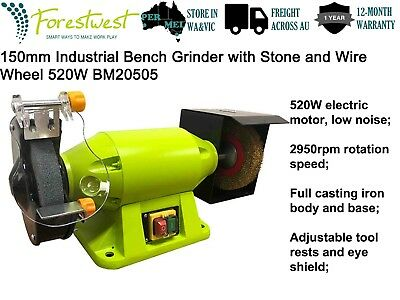 150mm Industrial Bench Grinder with Wire Wheel Steel Brush 520W Motor BM20505
