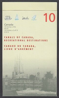 CANADA BOOKLET BK208b 10 x 45c CANALS OF CANADA, OPEN COVER WITH TI