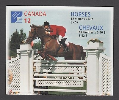 CANADA BOOKLET BK220b 12 x 46c HORSES OF CANADA, OPEN COVER WITH TI