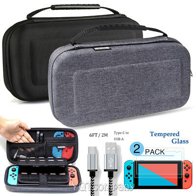 Carrying Case for Nintendo Switch Travel Bag + Tempered Glass + 6FT Cable