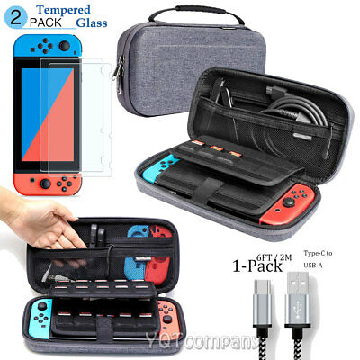 Nintendo Switch Carrying Case Hard Shell Portable Pouch Travel Bag + 6ft Cable