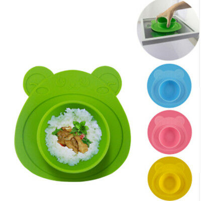Baby Kids Table Food Dish Suction Bowl Tray Cute Bear Silicone Mat Placemat FA