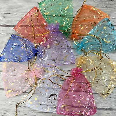 NEW 9x12cm 100pcs Moon Star Organza Gift Bags Wedding Jewelry Drawstring Pouches