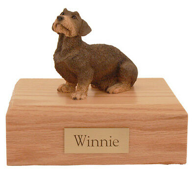 Wire Haired Dachshund Pet Funeral Cremation Urn Avail in 3 Diff Colors & 4 Sizes