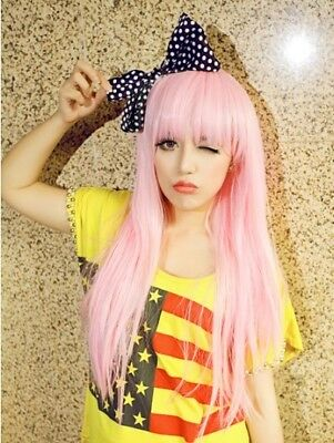 Long Straight Pink Girl women full wig Heat resistant hair Cosplay Party wigs A1