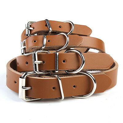 1X Soft Genuine Cow Leather Pet Dog Cat Puppy Collar Neck Buckle Adjustable XS-L